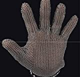 HAOLY Fünffingrige stahldraht Handschuhe,Stahl Ring Metall Schnitt-Nachweis Schneiden Edelstahl Verschleißfeste Single-A 23cm lang