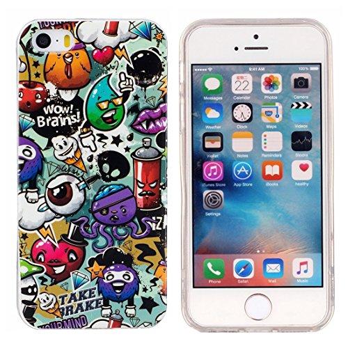 iPhone Case Cover Pour iPhone 5 & 5s & SE Noctilucent Rose Motif de fleur IMD Workmanship Soft TPU Back Cover Case ( SKU : Ip5g1671c ) Ip5g1671j