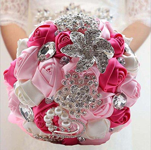 Handgemachte Diamant Kristall Perle Seide Rosen Brautjungfer Braut Künstliche Blumensträuße Anpassung Braut hält Bouquet Durable Hochzeit mit Brosche Corsage Blume ( Color : Rosa )