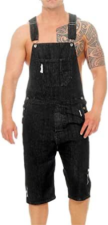 Xinvivion Mens Dungarees Shorts Denim Bib Overalls - Summer Casual Jeans Trouser Shorts Jumpsuit