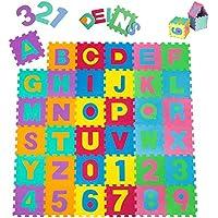 TecTake Kinderteppich Spielmatte Lernteppich 86 tlg. ca. 180x180 cm preisvergleich bei kleinkindspielzeugpreise.eu