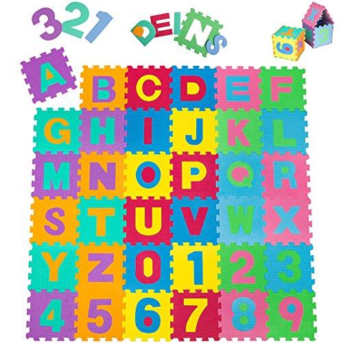 *TecTake Kinderteppich Spielmatte Lernteppich 86 tlg. ca. 180×180 cm*