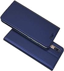BoxTii Huawei P20 Hülle, Magnetisch Dünn Edles Leder Schutzhülle mit Frei Panzerglas Displayschutzfolie für Huawei P20 (Blau)