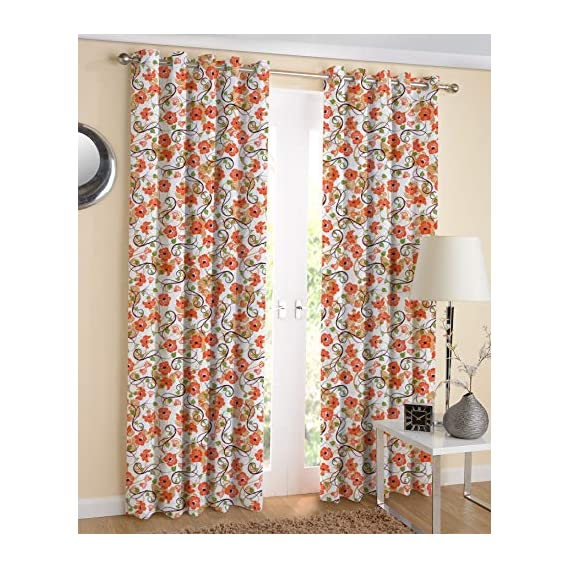 AIRWILL Eyelet Floral Printed Cotton 4ft in Width and 7ft Length Door Curtains (Orange) - Pack of 2 Pieces
