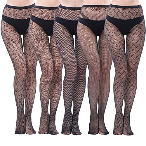 71bcc27e57a2c 5 Pairs Fishnets Tights Fishnet Stockings Fishnet Pantyhose Cross Mesh  Stockings Pantyhose for Women, Black