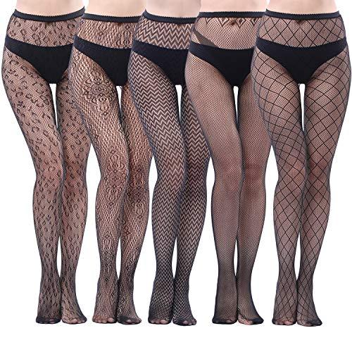 c2adfd7f4fb88 5 Pairs Fishnets Tights Fishnet Stockings Fishnet Pantyhose Cross Mesh Stockings  Pantyhose for Women, Black