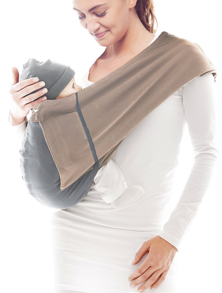 Wallaboo Wrap Sling Carrier Connection, Easy Adjustable, Ergonomic, 3 Carrying Positions, Newborn 8lbs to 33 lbs, Soft Breathable Cotton, 3 Sitting Positions, EU Safety Tested, Color: Taupe / Grey Wallaboo Ergonomically correct design with three natural positions: sleep, sit and active- one size fits all Can be used from premature baby through to 33lbs - with easy-to-use features like a full-front opening and an adjustable back Single piece of fabric, no straps, belts or buckles - Partly padded to give extra comfort- No wrapping, no hardware. Ready to wear 1