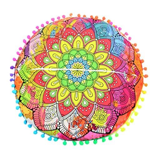 Kavitoz Indian Mandala Floor Pillows Round Bohemian Cushion Pillows Cover Case Cushions (B)