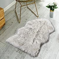Nordmiex Non Skid Backing Faux Fur Sheepskin Rug-Deluxe Soft Faux Sheepskin Chair Cover, Seat Cushion Pad Plush Fur Area Rugs for Bedroom Sofa Floor, 2ft x 3ft-White with Gray Tips