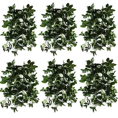Famibay 6Pcs/47.2Ft Künstliche Blume Girlande Blumen für Heim, Garten, Wände, Hochzeit(Weiß)