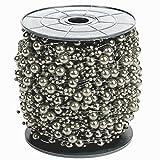 Perlengirlande Perlenband Silber 75 Meter I Glänzend I Perlen Girlande für Hochzeit I Perlenschnur Tisch Perlenkette