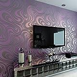 3D Abstrakt Wohnzimmer Tapeten Luxus Vliestapete Fernseher Hintergrund Geprägte Mustertapete Hanmero Vergolden Wandbild Rolle 27.6*330.7 inch (Lila)