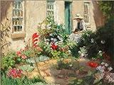 Posterlounge Forex-Platte 130 x 100 cm: Lesende Frau im Garten. Um 1900 von Harold Harvey/ARTOTHEK