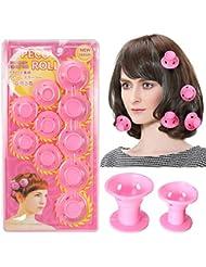 Bigoudis LuckyFine Silicone 10pcs Rouleaux de Cheveux Lavable et Reusable pas de Clip Curlers Rollers Rose