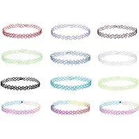 La Rose Elégante - Set di 12 eleganti collane elastiche a girocollo, realizzate in plastica, fornite in vari colori…