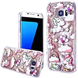 Coque Samsung S7 Edge Liquide Sables Mouvants , We Love Case Bling Glitter Étoile Paillettes Coque pour Samsung Galaxy S7 Edge Etui Bumper Dual Layer Plastique Dur Étui de Protection Sparkle Briller Quicksands Housse Cristal Clair Coque Strass Case Cover Transparent avec Cute Motif Licorne d'or