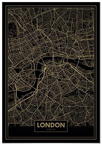 Panorama Póster Mapa Oro Londres 50 x 70 cm - Impreso
