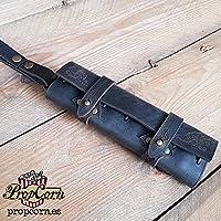 Estuche de cuero Negro para 6 pociones, kit vertical para cinturon para Rol en vivo