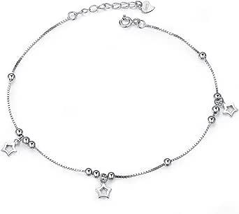 Cavigliera da donna, in argento Sterling 925, con stella, per donne, con confezione regalo per compleanno, Natale