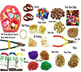 #6: Silk thread jewellery making kit,full materials, beads kit with colorful pom pom, plastic beads,wooden beads, (22 items) with jewellery storage box