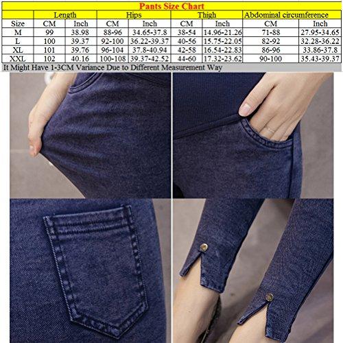 Zhhlaixing Winter Denim Thicken Plus Velvet Maternité Trousers Pregnancy Pants Leggings blue