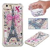 E-Mandala iPhone 6S Plus 6 Plus Hülle Glitzer Flüssig Liquid Glitter Case Cover Handyhülle Schutzhülle Transparent mit Muster Durchsichtig Tasche Silikon - Eiffelturm Paris
