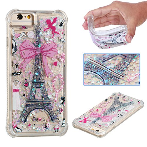 Wubaouk iPhone 7/iPhone 8 Liquid Glitter Hülle Quicksand Clear Soft Silicone TPU Gel Cover Ultra Thin Hülle Eiffel Tower Shockproof Bumper Protective Women Phone Hülles