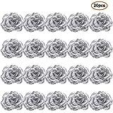 FOONEE sintetico rosa teste 20PCS finta seta artificiale teste di rose artificiali piante di fiori finti per Craft Home Decor Silver