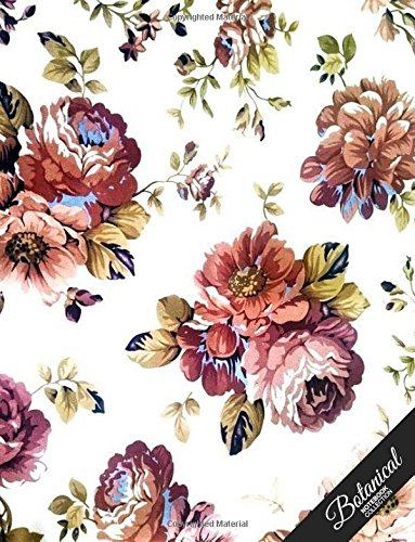 Botanical Notebook Collection: Textile Design 2, Floral Journal/Diary, Wide Ruled, 100 Pages, 8.5 x 11