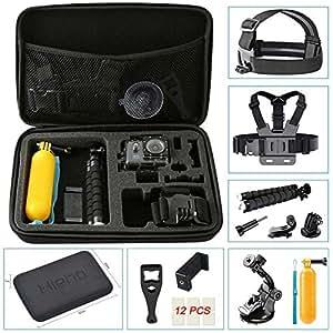 Hieha 23 in 1 For GoPro Accessories Kit Action Camera Mount Go-Pro HERO 6 5 4 3 2 1 & Session Carry Case SJCAM SJ4000 SJ5000 Xiaomi YI Vivitar Apeman A80 AKASO EK7000 Vemont ieGeek Bundle Pack Set