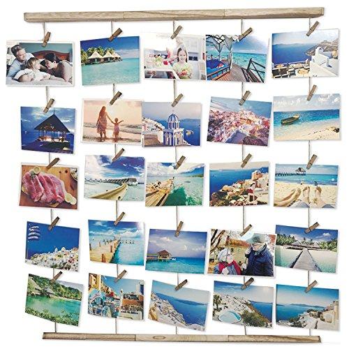 Moveonstep cornice portafoto cornici foto multiple da parete per appendere foto e lmmagini con 5 corde appese e 30 clip- chiaro colore