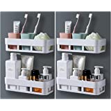 MorivaHomes Multipurpose Wall Mount Bathroom Shelf and Rack for Home and Kitchen. Adhesive Sticker Support Without Drilling.
