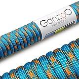Paracord 550 Seil, 31 Meter, für Armband, Knüpfen von Hundeleine oder Hunde-Halsband zum selber machen / Seil mit 4mm Stärke / Mehrzweck-Seil / Survival-Seil / Parachute Cord belastbar bis 250kg (550lbs), Farbe: hellblau, orange, Marke Ganzoo