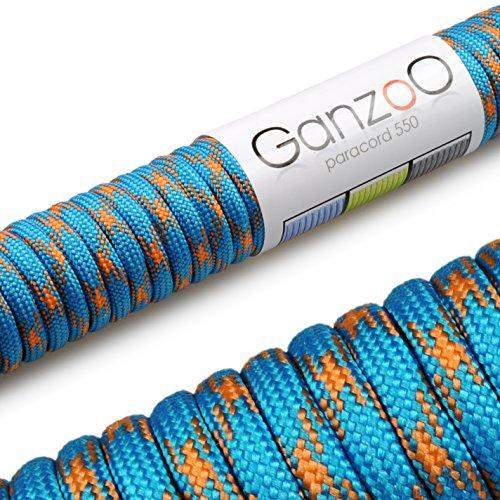 Paracord 550 corda, 31 m, per Guinzaglio per cani, colore: azzurro, arancione
