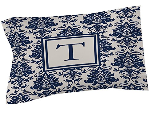 Manuelle holzverarbeiter & Weavers Kissen Sham, Standard, Monogramm Buchstabe T, Damast blau (Navy King-size-pillow Shams)