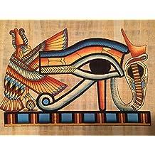 Pintado a mano papiro egipcio pintura muestra el ojo de houras. Que se utiliza para