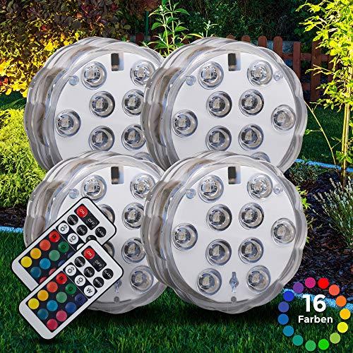 LED Pflanzenlicht | Batterie betrieben | Pflanzenbeleuchtung | Blumenbeleuchtung | inkl. Fernbedienung | RGB und Wasserdicht | 4er Set | Garten, Blumenbeet | Dekoration