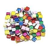 Dreamtop - Assortiment de carreaux de mosaïque à paillettes en verre avec boîte de rangement - Idéaux pour les bricolages - 160 g - 10x 10mm...