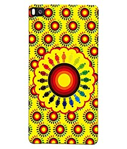 Fuson Yellow Circles Pattern Back Case Cover for HUAWEI P8 - D3909