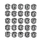 Charm a forma di lettere dell'alfabeto dalla A alla Z, in argento Sterling 925, con zirconia cubica trasparente, stile vintage, ciondoli a forma di lettere dell'alfabeto per braccialetti e bracciali rigidi, PSC008 e argento, colore: Silver, cod. 1