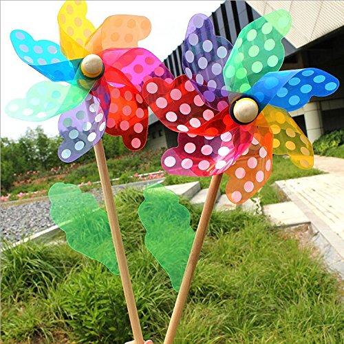 Wuudi, confezione da 3 girandole colorate in plastica con asta in legno, idea regalo per bambini