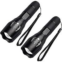 Maxesla Torcia LED Potente Professionale, 2 Pezzi Impermeabile 2000 Lumen Super Luminoso Mini Torcia Tattica, Portatile…