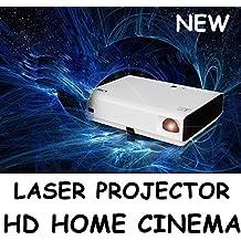 NIERBO Proyector láser Proyector 1080P HD Proyector 3D DLP mini Proyector de vídeo doméstico 3000 lúmenes 1280x800 Resolución 20000: 1 HDMI VGA