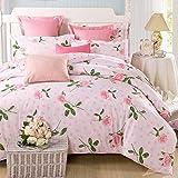 DD RFWEQ ETYU Pastoralen Stil Gestreifte Blumen/Blumen 100% Baumwolle Bettbezug - B220*240 cm (87 x 94 Zoll)