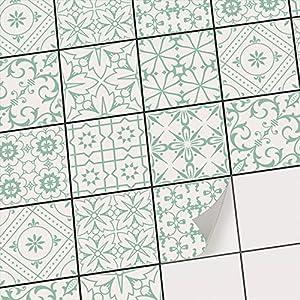 creatisto Fliesensticker Fliesenfolien u. Klebefliesen I Sticker Aufkleber Folie für Bad-Fliesen u. Küchenfliesen zur Küchengestaltung I 10x10 cm - Motiv Türkise Ornamente - 9 Stück
