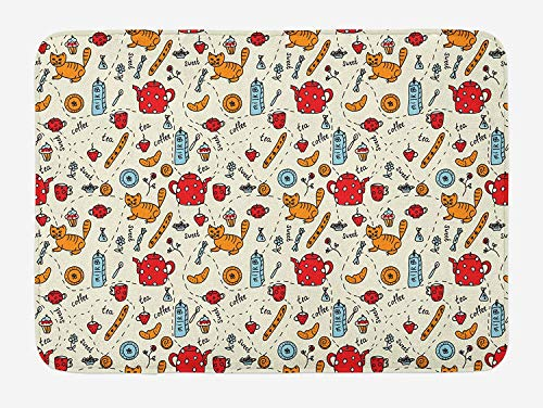 ASKYE Cartoon Bath Mat, Cats Tea and Sweets Coffee Muffins Milk and Bread Cartoon Style Doodle Art, Plush Bathroom Decor Mat with Non Slip Backing, 23.6 W X 15.7 W Inches, Red Cream Orange White Milk Glass Bowl