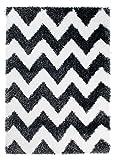 Tapiso® OPTIMAL Teppich Shaggy - Modern Hochflor in Schwarz Weiss mit Designer Geometrisch Zick Zack Muster - Ideal für Wohnzimmer, Schlafzimmer - ÖKOTEX 200 x 300 cm