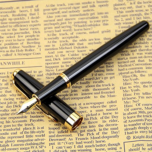 heroneor-classic-baoer-388-stainless-steel-fountain-pen-golden-trim-m-nib-black-barrel