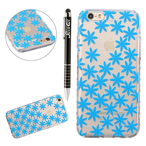 SainCat Custodia iPhone 6 6s 4.7 Pollice,Fashion Design Ultra Slim Morbido Flessibile Trasparente Soft TPU Gel SiliCon Thin Painting Case Caso Cover,Clear Sottile Copertina Antiurto Protecttivo Shell  Blu Crisantemi