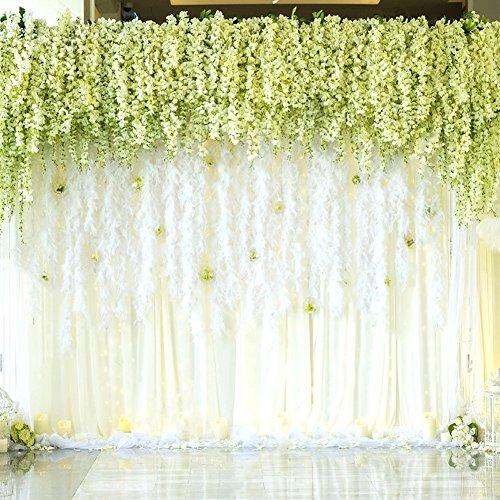 Houda 12 Stück/110cm Künstliche Fake Wisteria Vine Ratta, Blauregen Seidenblumen,hängende Dekoration Garland Seide Blumen für Party Home Dekoration Hochzeiten (02 Weiß, 12 PCS)